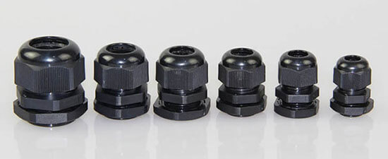 black waterproof cable glands
