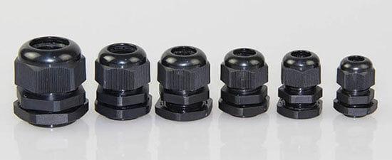 black waterproof cable glands