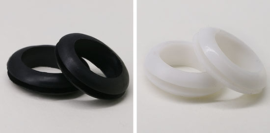 black and white rubber cable grommet