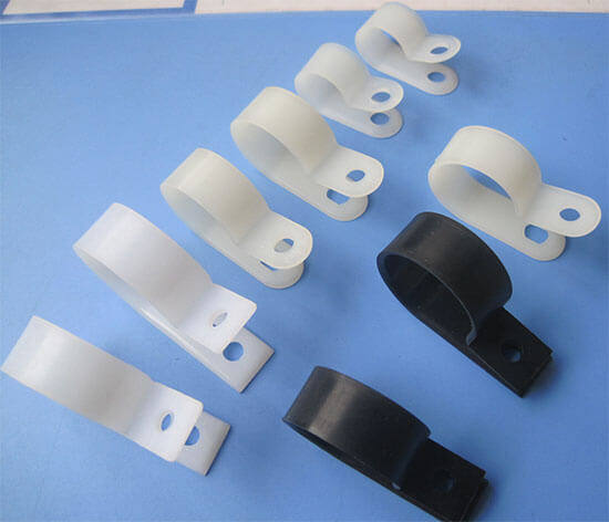 white and black R type cable clamp show
