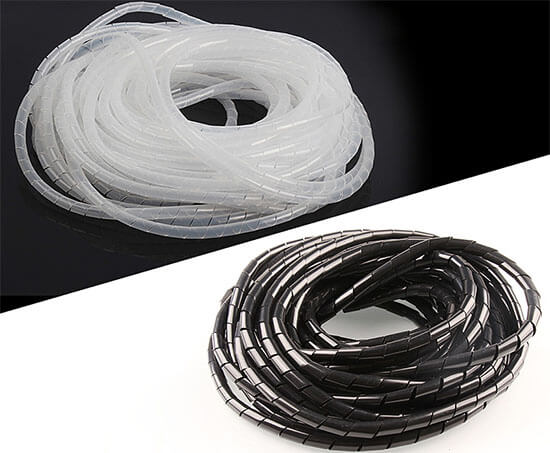 black and white spiral cable wrap
