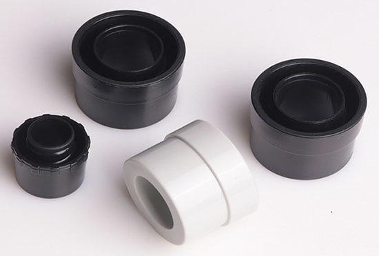 grey and black nylon metal conduit caps